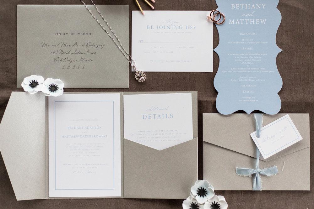 Blue and Gray Wedding Invitation Chicago Wedding Meghan McCarthy Photography