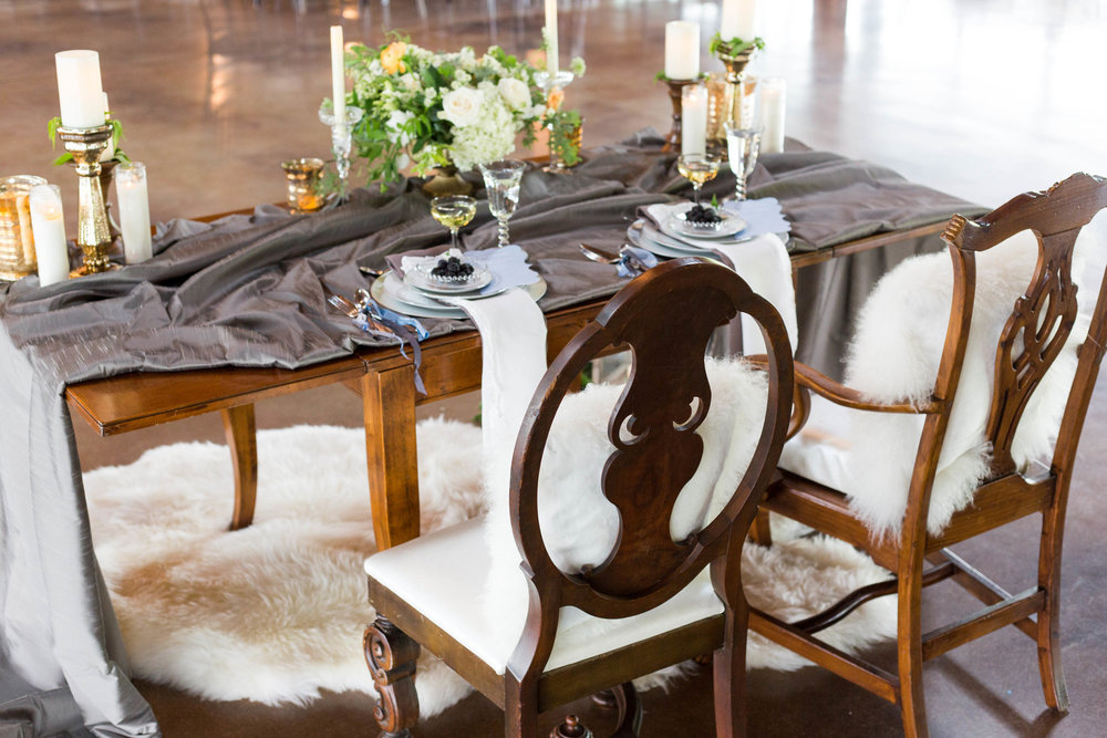 Rustic Sweetheart Table with Gray Table Cloth Chicago Wedding Meghan McCarthy Photography