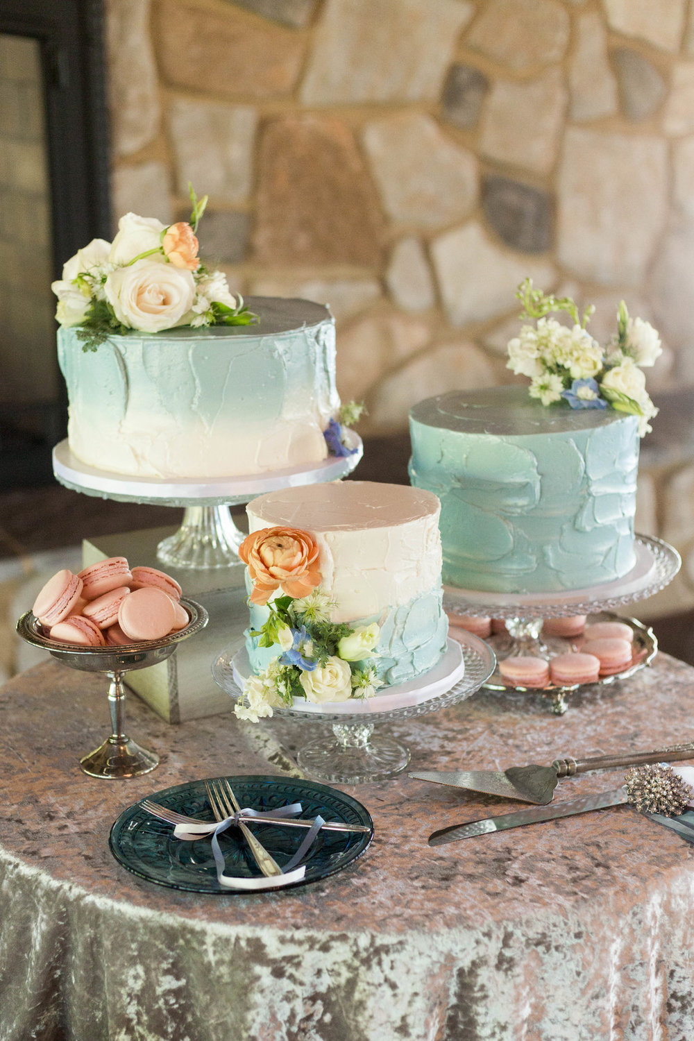 Three One Tier Baby Blue Marble Chicago Wedding Cake Hors d'oeuvres Chicago Wedding Reception Meghan McCarthy Photography