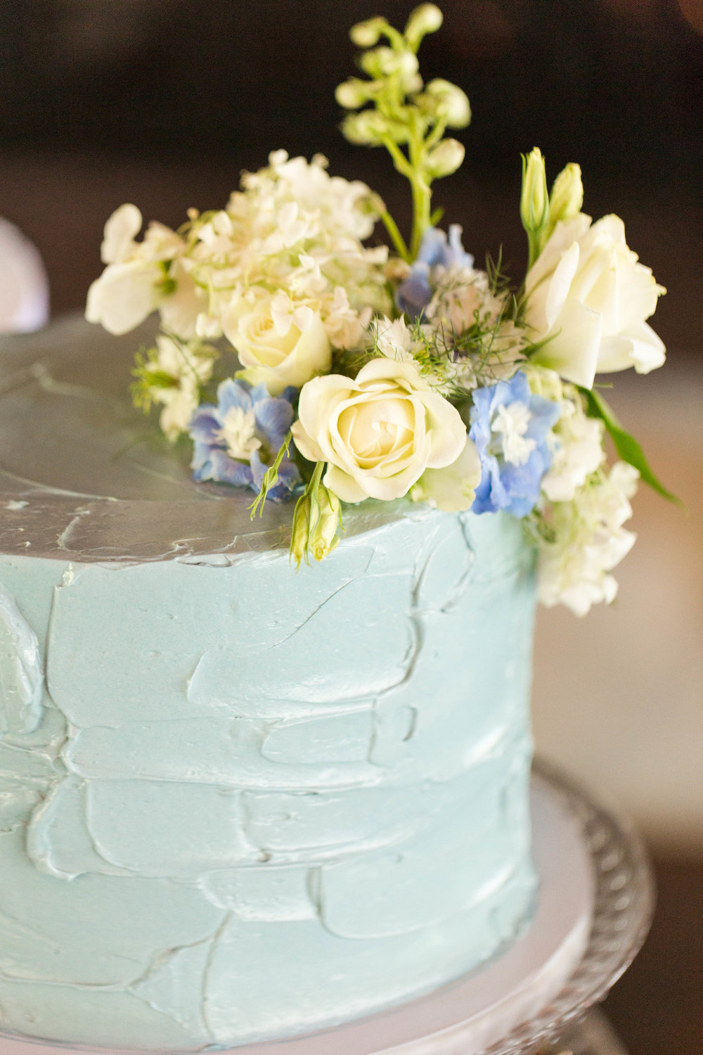 Baby Blue and White Rose One Tier Chicago Wedding Cake Hors d'oeuvres Chicago Wedding Reception Meghan McCarthy Photography