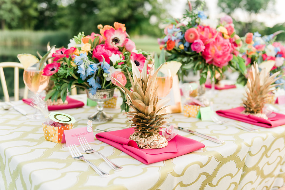 Pineapple Table Setting Chicago Wedding Anamaria Vieriu Photography