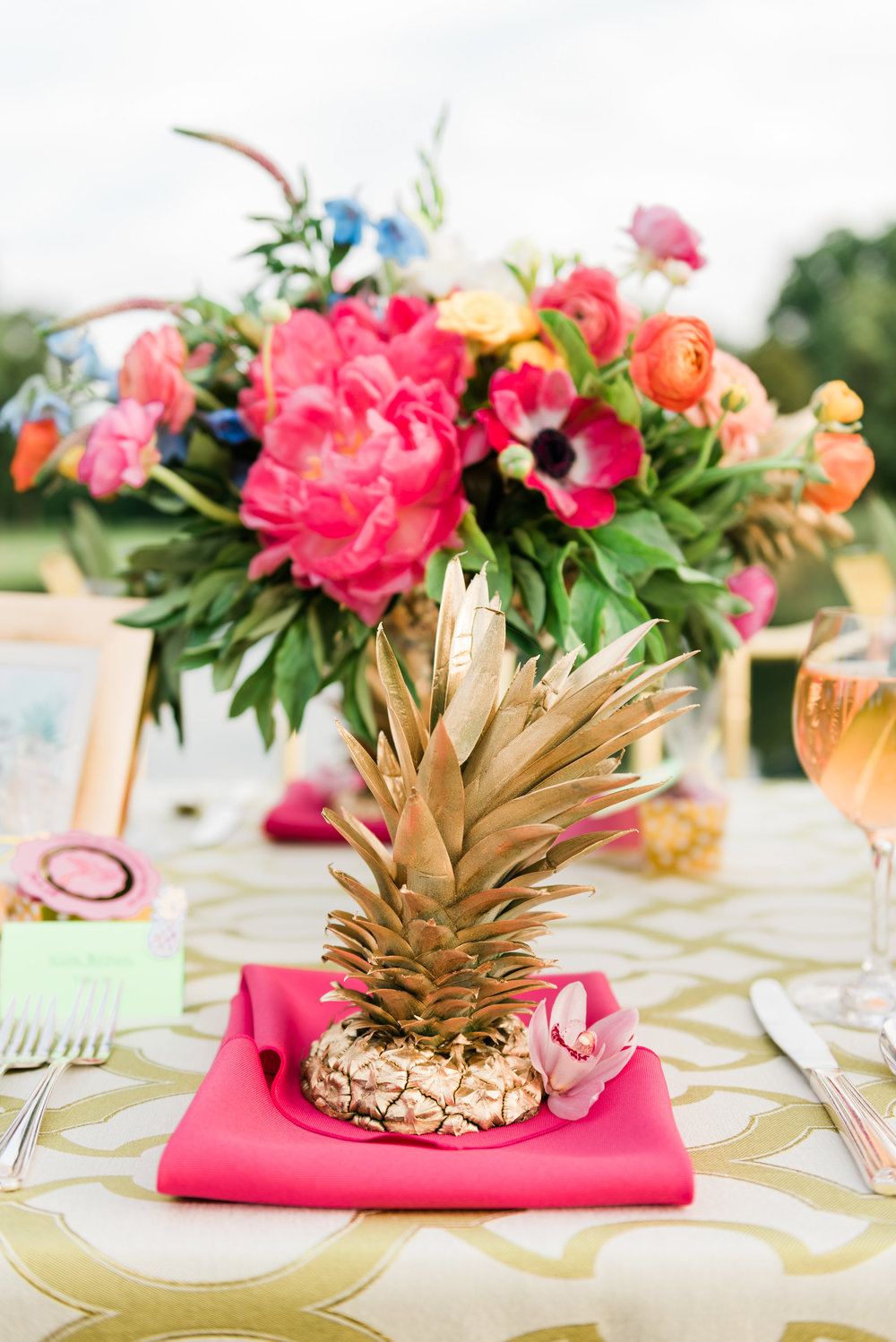 Pink and Pineapple Table Setting Chicago Wedding Anamaria Vieriu Photography