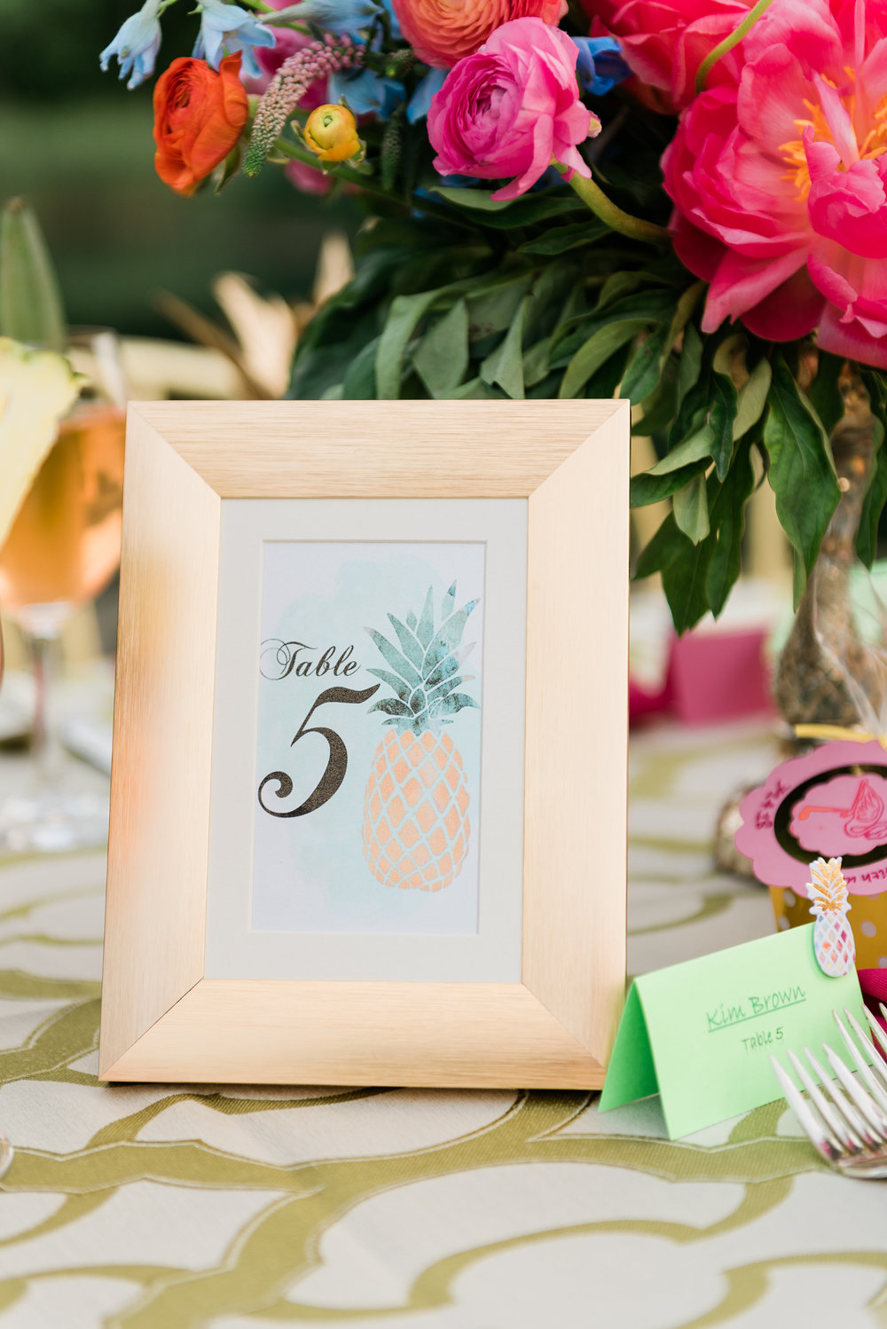 Pineapple Table Numbers Chicago Wedding Anamaria Vieriu Photography