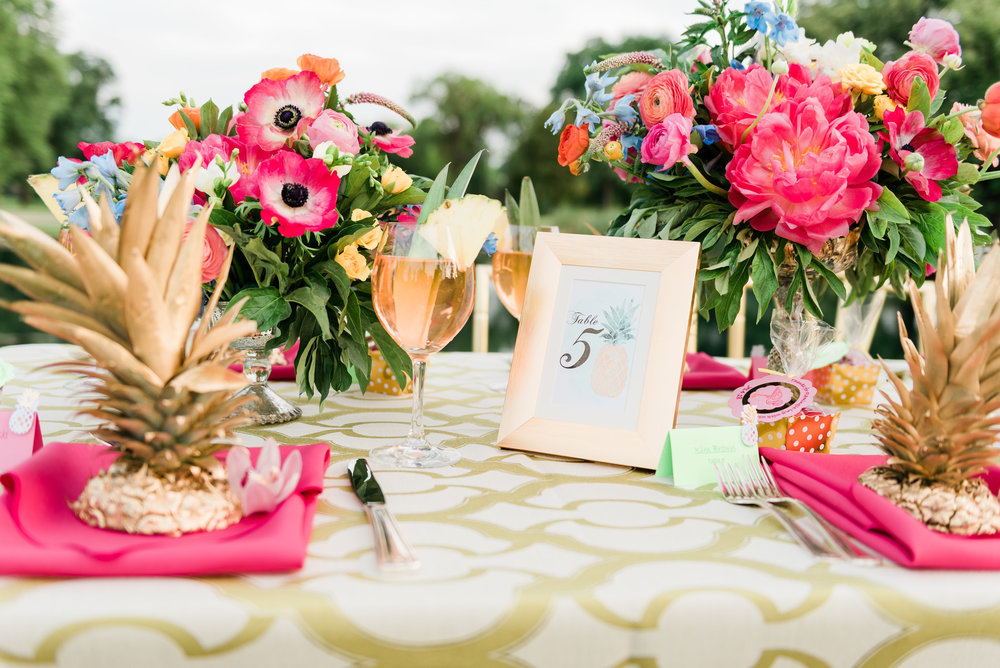 Pineapple and Gold Table Numbers Chicago Wedding Anamaria Vieriu Photography