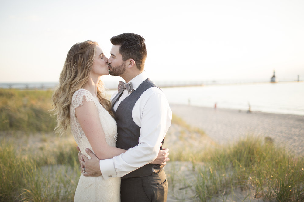Sunset Beach Bride and Groom Portrait Chicago Wedding Michelle Cox Photography