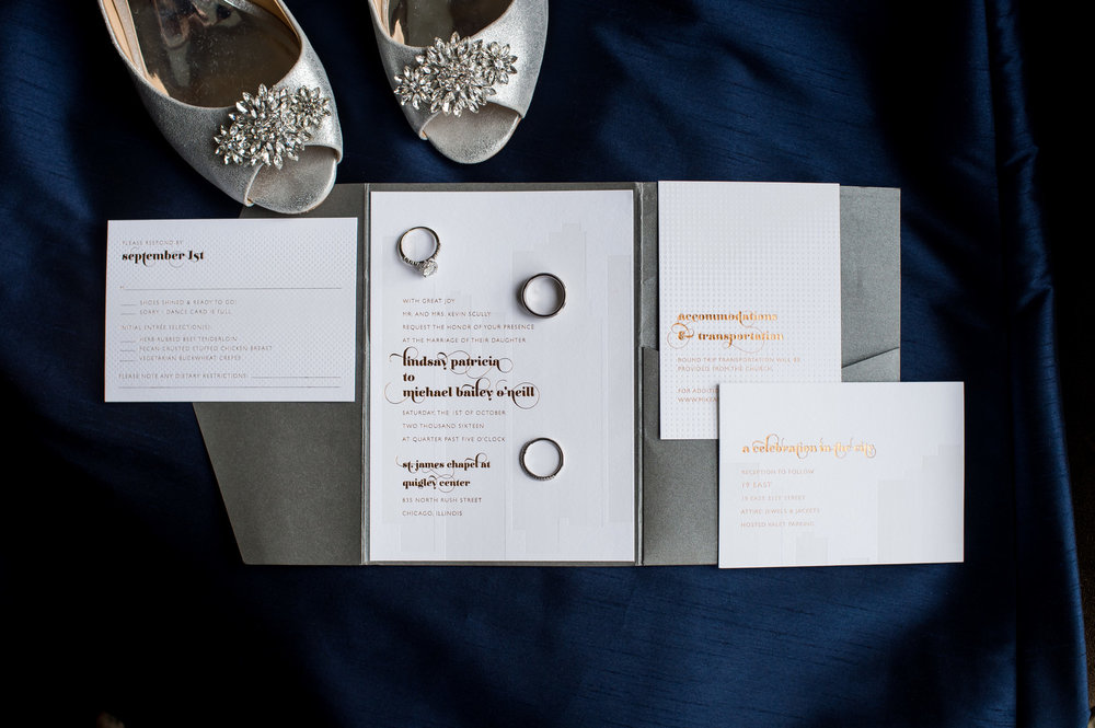 Gold and Silver Wedding Invitations Chicago Wedding Julia Franzosa Photography