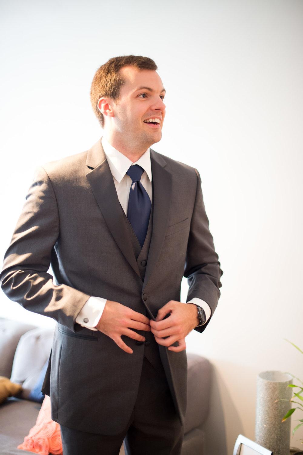 Gray Groom Suit Chicago Wedding  Julia Franzosa Photography