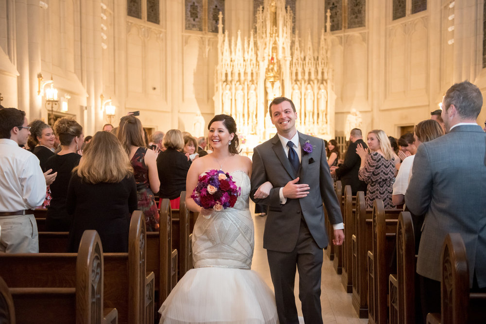 Bride and Groom Ceremony Exit Chicago Wedding St. James Chapel Julia Franzosa Photography