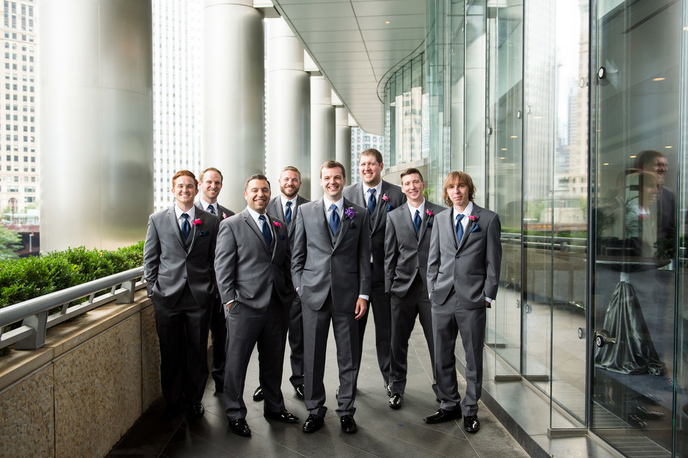 Gray Groomsmen Suits Chicago Wedding Julia Franzosa Photography