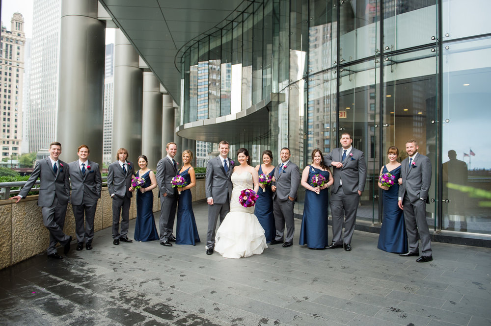 Blue and Gray Bridal Party Chicago Wedding Julia Franzosa Photography
