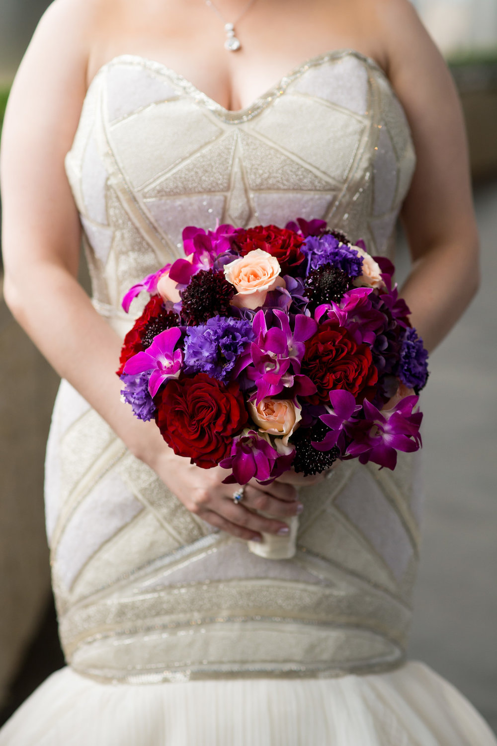 Purple Pink and Red Bridal Bouquet Chicago Wedding Julia Franzosa Photography