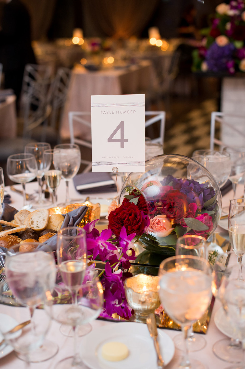 Pink and Red Table Center Pieces Chicago Wedding Julia Franzosa Photography