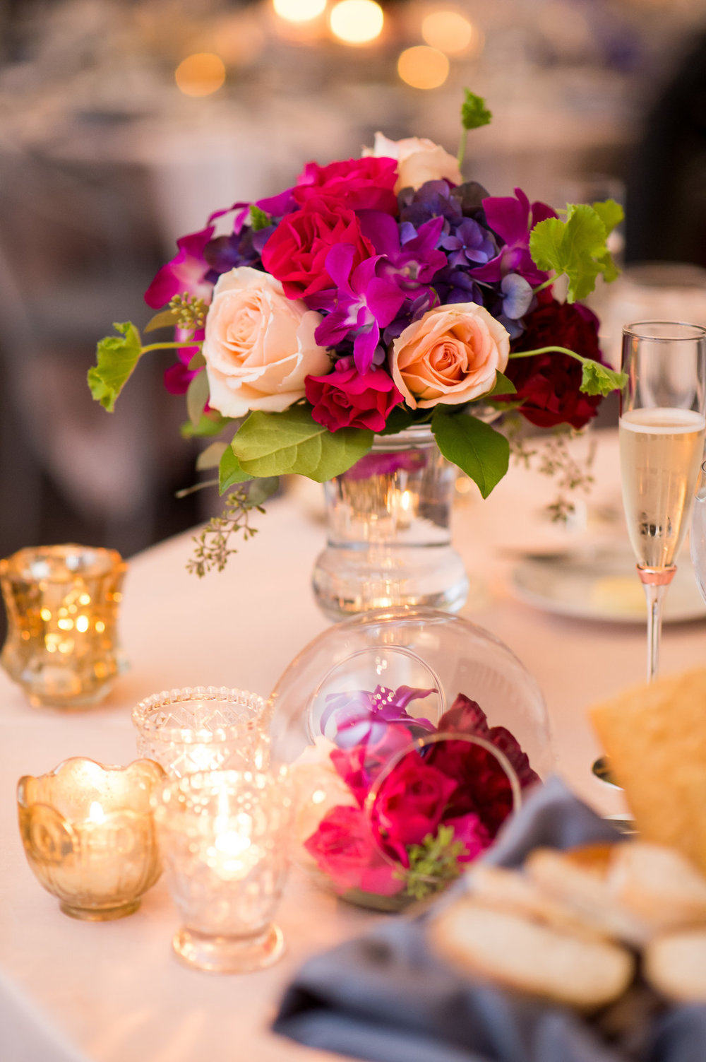 Purple and Rose Table Center Pieces Chicago Wedding Julia Franzosa Photography