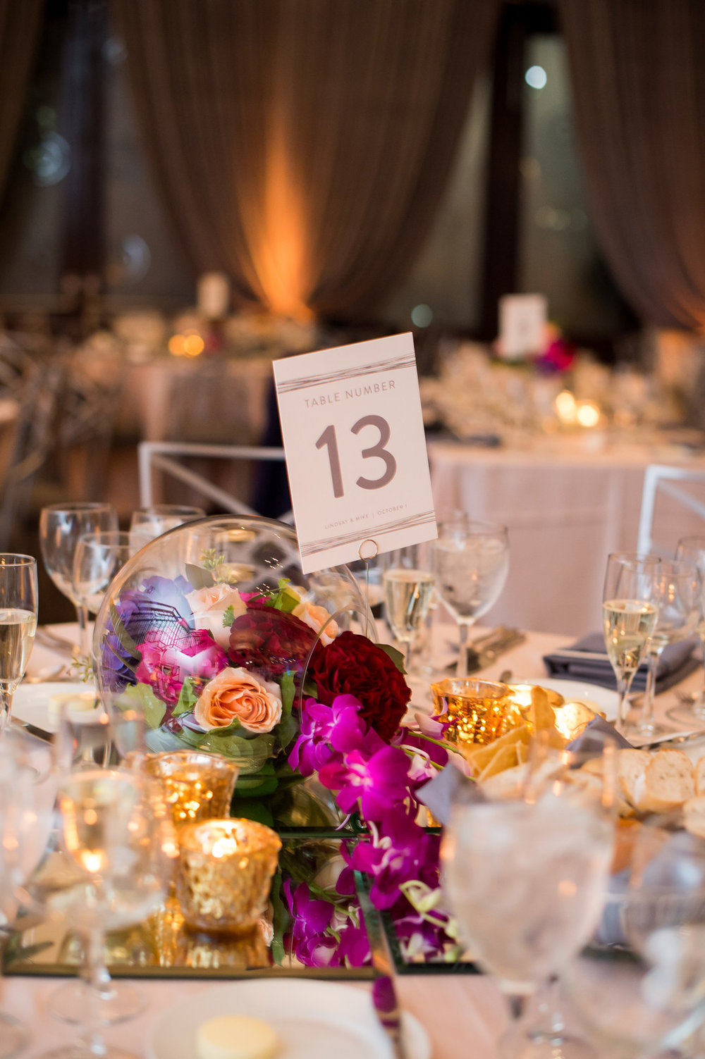 Purple and Gold Table Center Pieces Chicago Wedding Julia Franzosa Photography