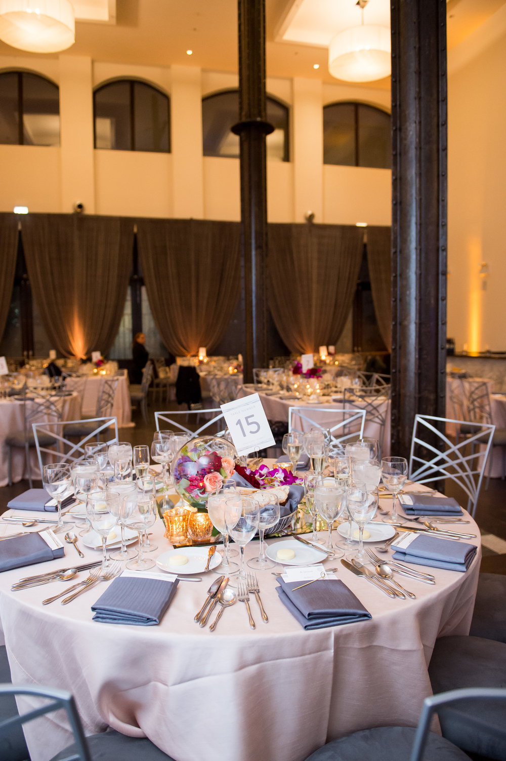 Gray Table Setting Chicago Wedding Julia Franzosa Photography