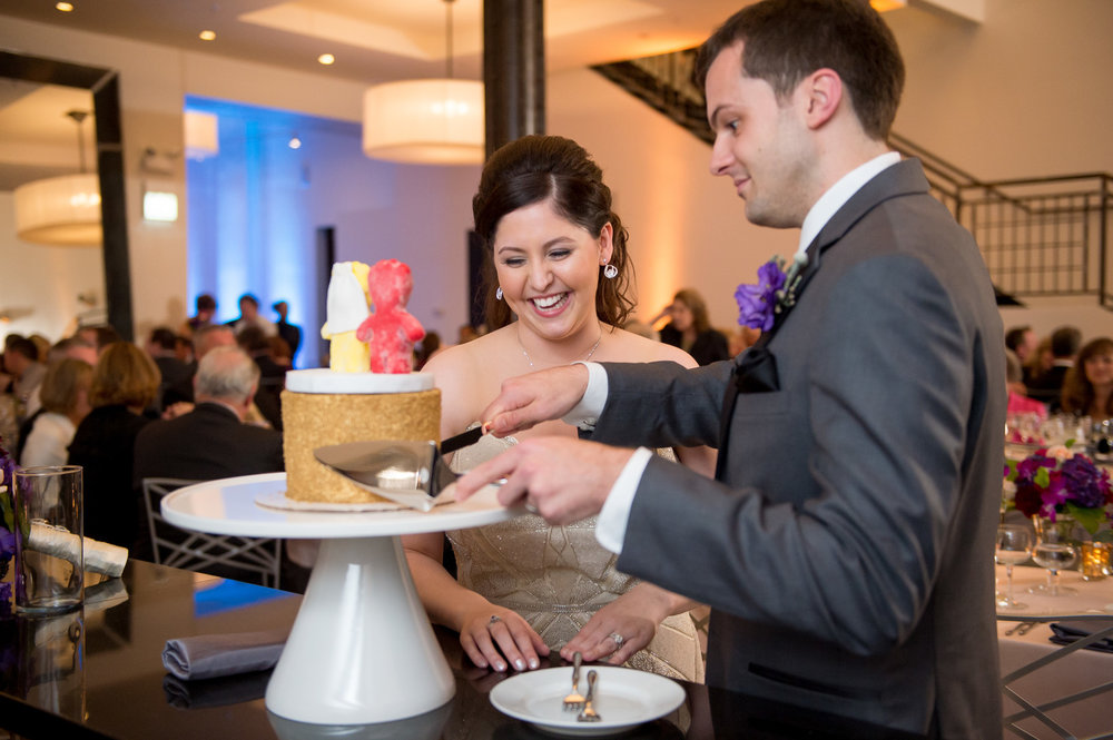 Bride and Groom Cut the Cake Chicago Wedding Reception Julia Franzosa Photography