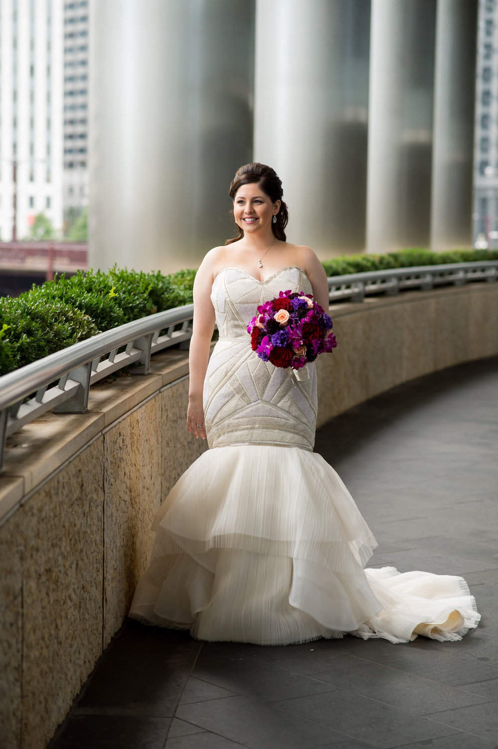 Purple and Red Bridal Bouquet Stunning Bridal Gown Chicago Wedding Julia Franzosa Photography