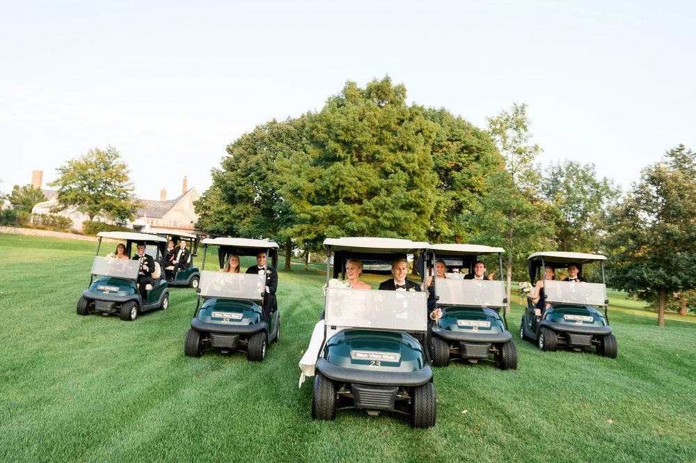 Bridal Party Riding Golf Carts Chicago Wedding Julia Franzosa Photography