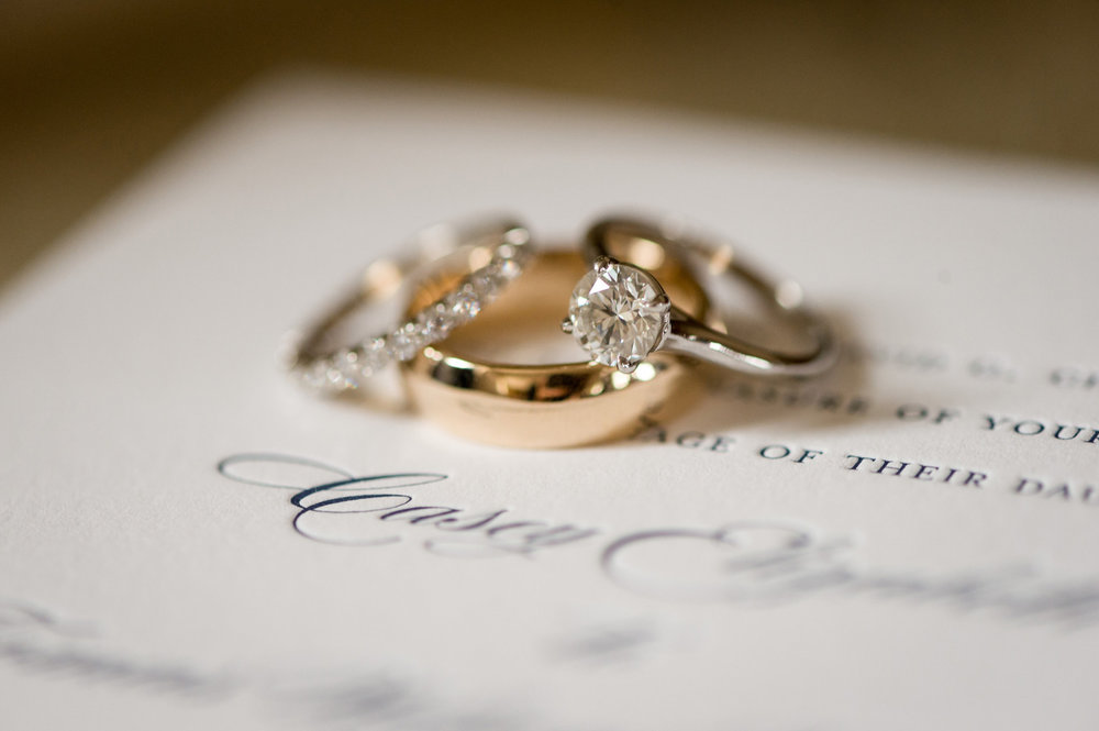 Solitaire Gold Engagement Ring and Wedding Bands Chicago Wedding Julia Franzosa Photography