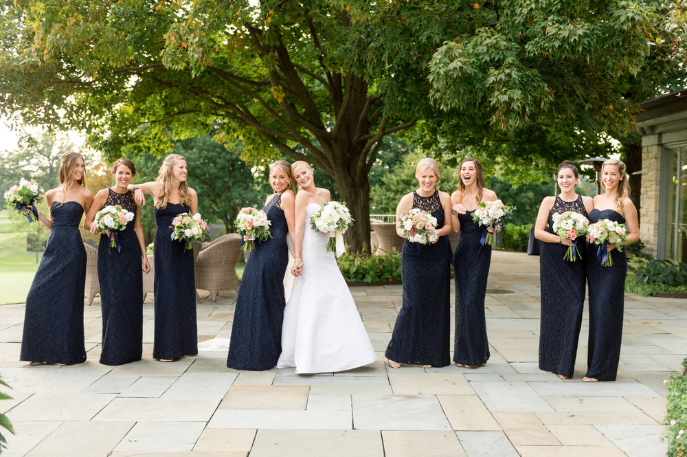 Black Lace Bridesmaid Gowns Chicago Wedding Julia Franzosa Photography