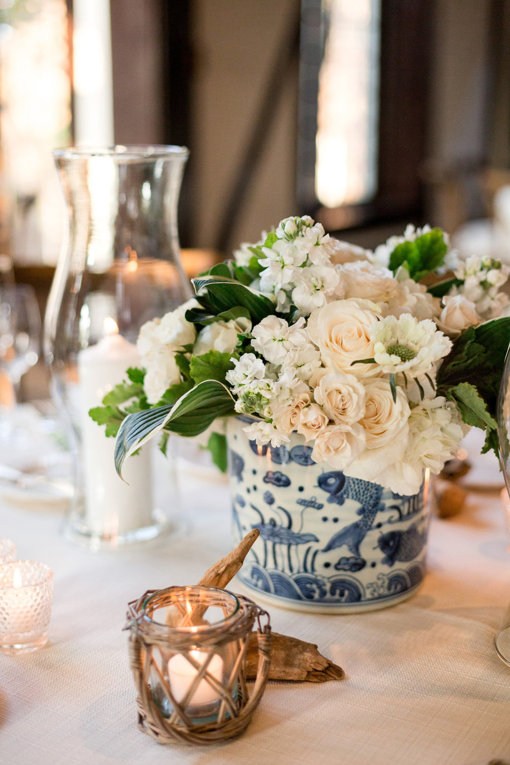 Blue and White Floral Table Center Pieces Chicago Wedding Julia Franzosa Photography