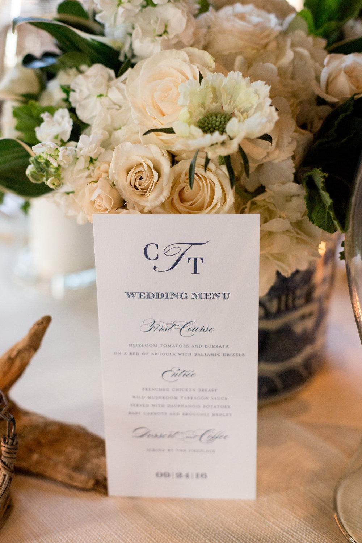 Elegant Wedding Menu Chicago Wedding Julia Franzosa Photography
