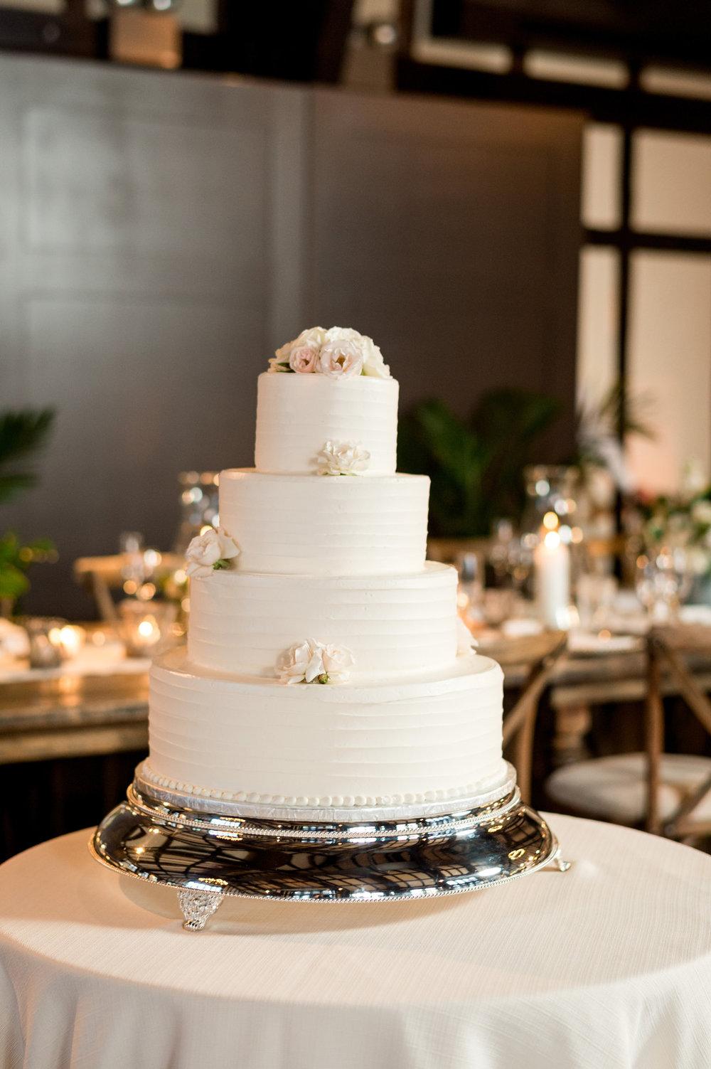 Four Tiered White Rose Wedding Cake Chicago Wedding Julia Franzosa Photography
