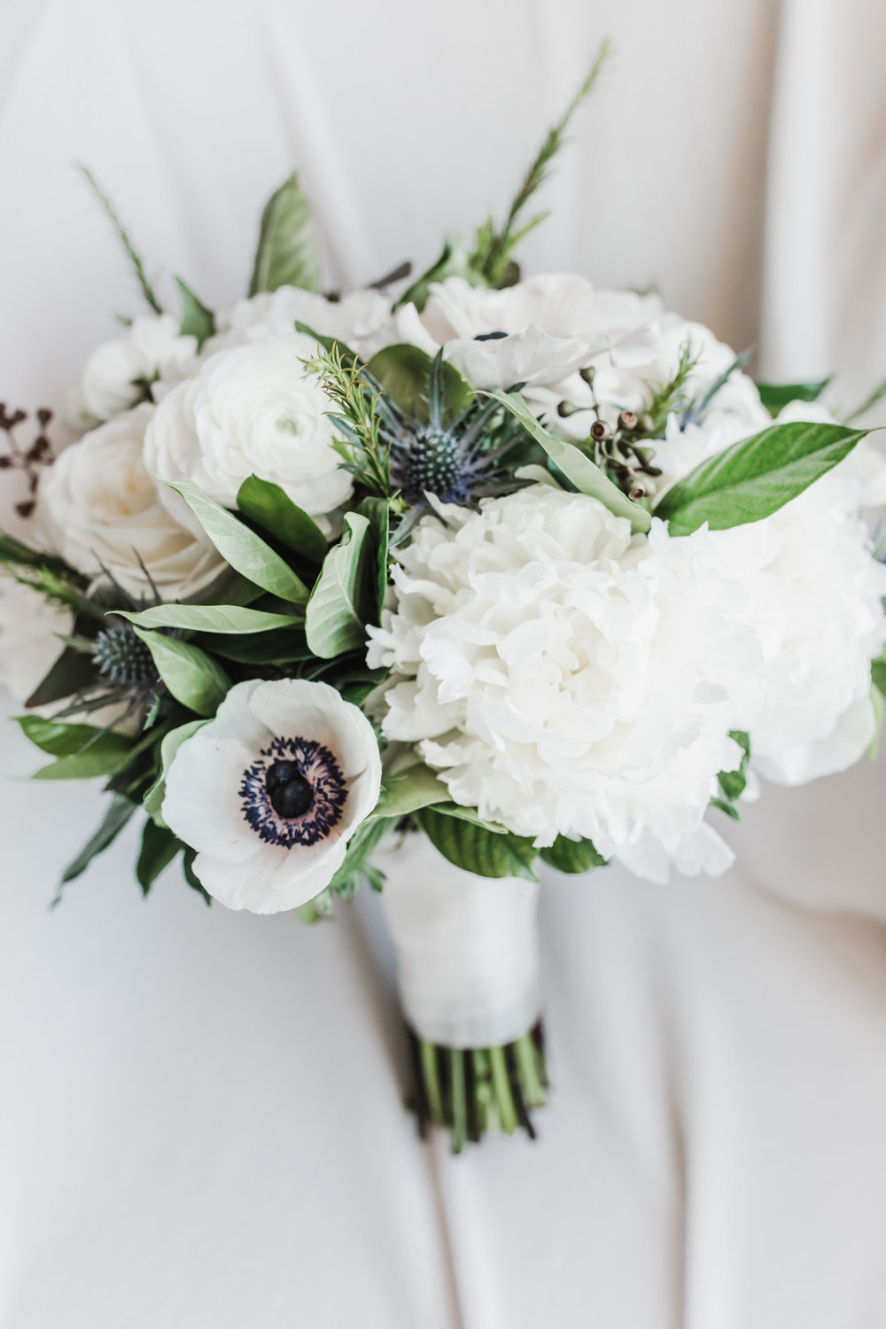 White and Black Bridal Bouquet Chicago Wedding Lindsey Taylor Photography