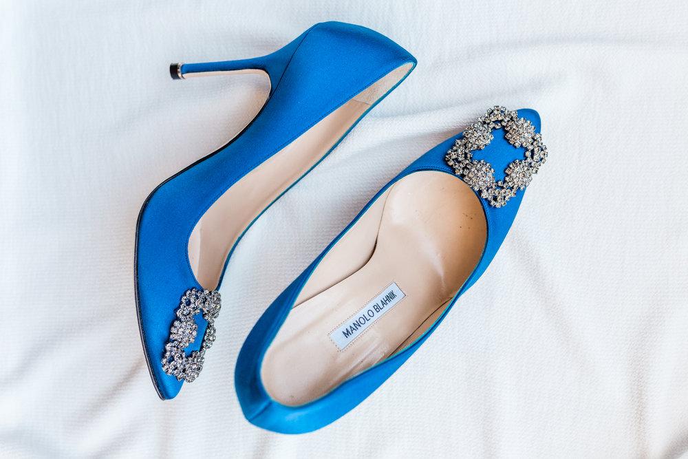 Blue Manolo Blahnik Bridal Heels Chicago Wedding Lindsey Taylor Photography