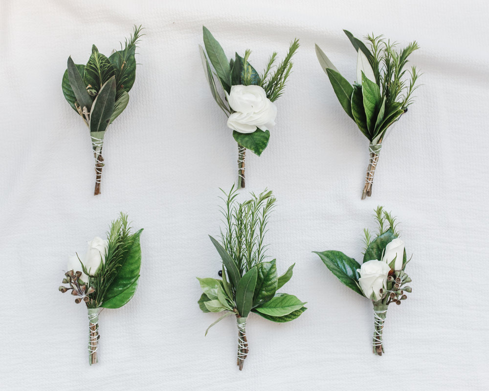 Rose and Greenery Boutonniere Chicago Wedding Lindsey Taylor Photography