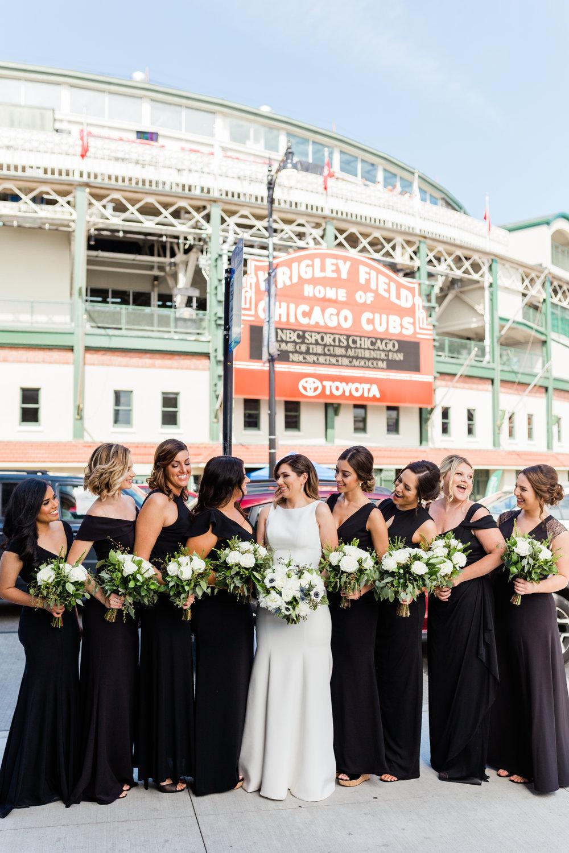 Elegant Black Bridesmaid Gowns Chicago Wedding Lindsey Taylor Photography
