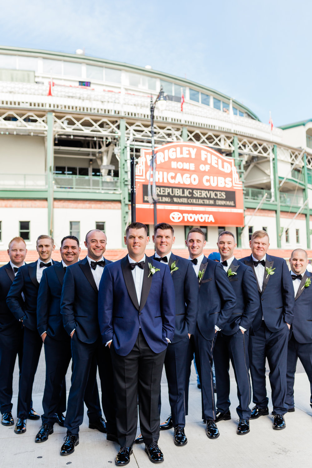 Navy and Black Groomsmen Tux Chicago Wedding Lindsey Taylor Photography