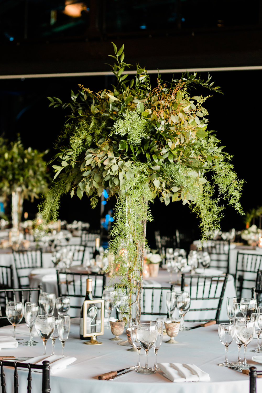 Tall Elegant Greenery Table Center Pieces Chicago Wedding Lindsey Taylor Photography