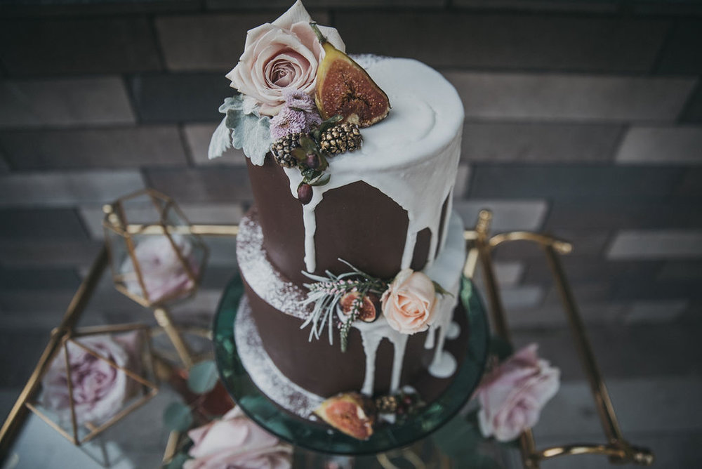 Three Tiered Chocolate Wedding Cake Chicago Wedding Monroe Street Photography