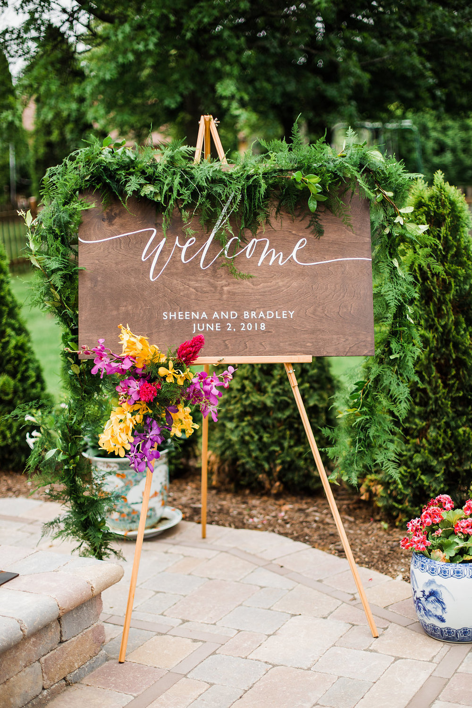 Floral Wedding Welcome Woodboard Chicago Wedding Ella Farrell Weddings