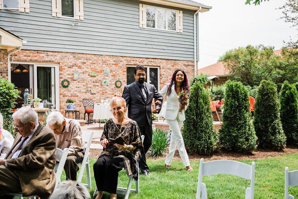 Bride Entrance Intimate Backyard Chicago Wedding Ella Farrell Weddings