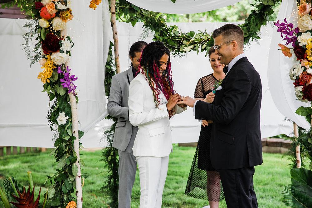 Exchange of the Rings Intimate Backyard Chicago Wedding Ella Farrell Weddings