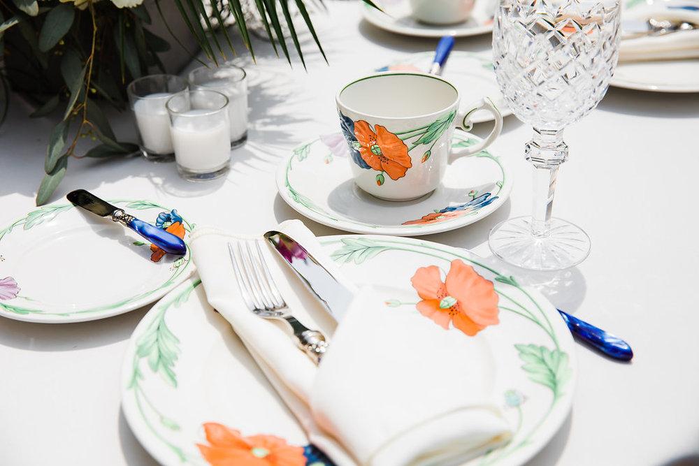 Floral Table Setting Intimate Chicago Backyard Wedding Ella Farrell Weddings