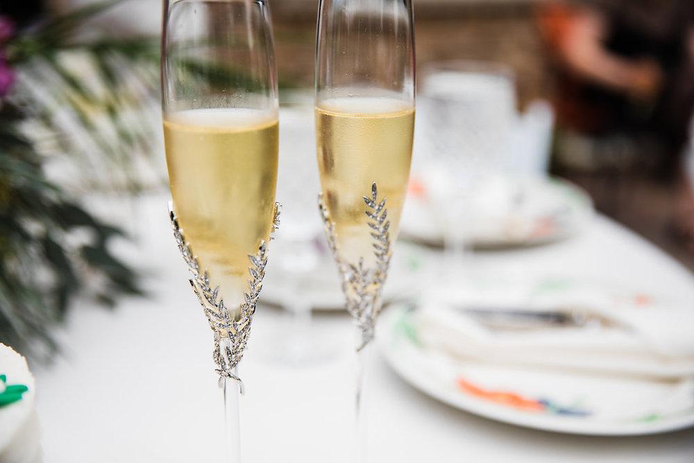 Fancy Champagne Flutes Chicago Wedding Ella Farrell Weddings