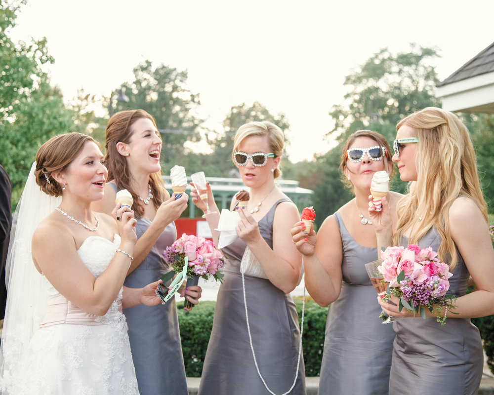 Gray Bridesmaid Gowns Chicago Wedding Michelle Cox Photography