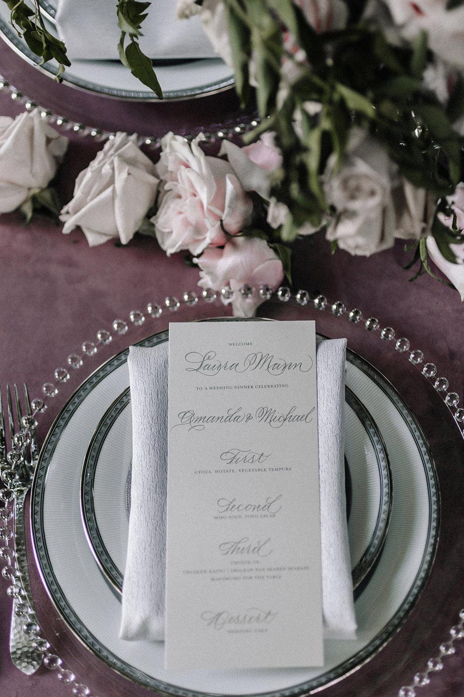 Romantic Elegant Table Setting Chicago Wedding lisa kathan photography