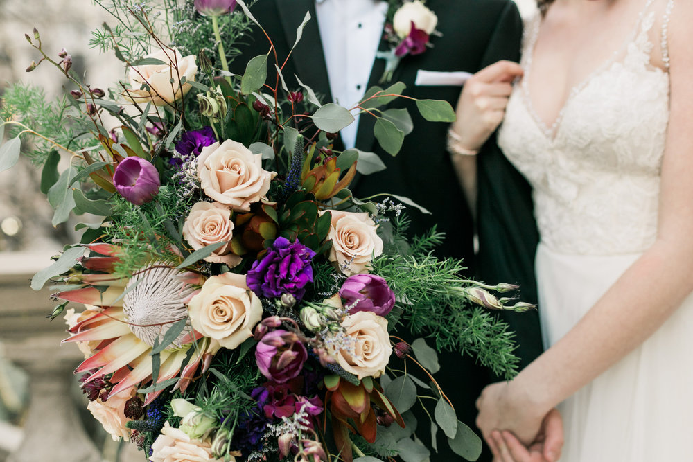 Rose Floral and Greenery Bridal Bouquet Chicago Wedding Stephanie Wood Photography