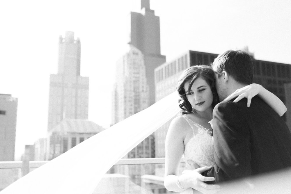 Romantic Bridal Portrait Cathedral Veil Chicago Wedding Stephanie Wood Photography
