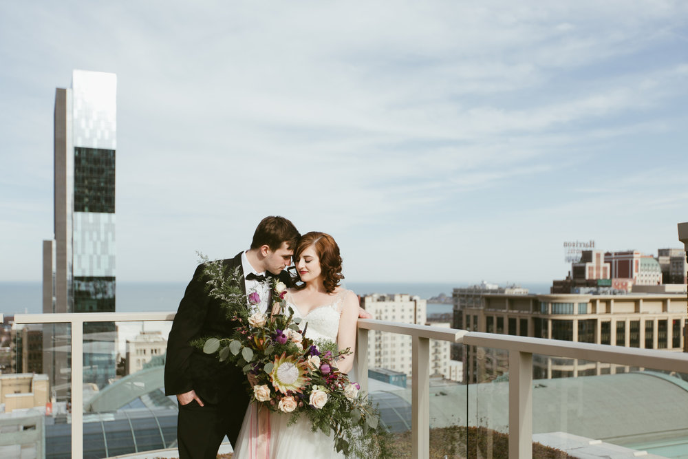 Bride and Groom Romantic Portrait Chicago Wedding Stephanie Wood Photography