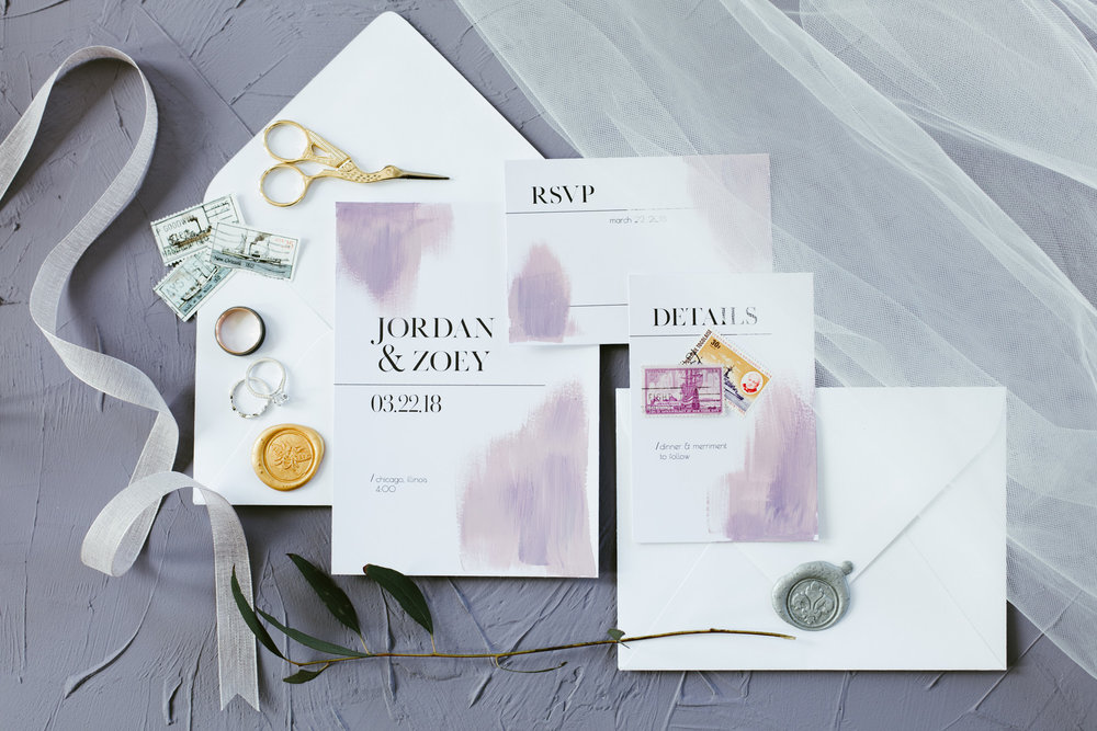 Purple Wedding Invitation Chicago Wedding Stephanie Wood Photography