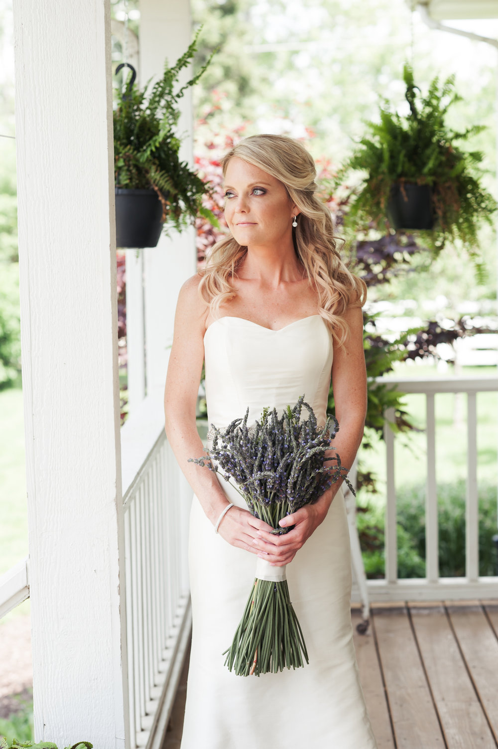 Elegant Bridal Gown with Lavender Bouquet Chicago Farm Wedding Elite Photo