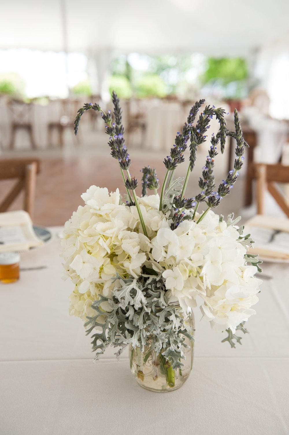 Floral and Lavender Center Piece Chicago Farm Wedding Elite Photo