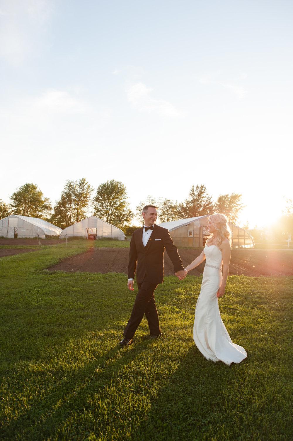 Sunset Bride and Groom Portrait Chicago Farm Wedding Elite Photo