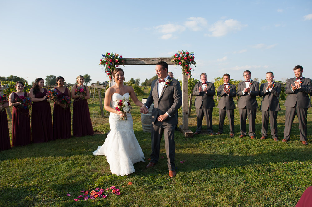 Bride and Groom Just Married Glow Chicago Winery Wedding Elite Photo