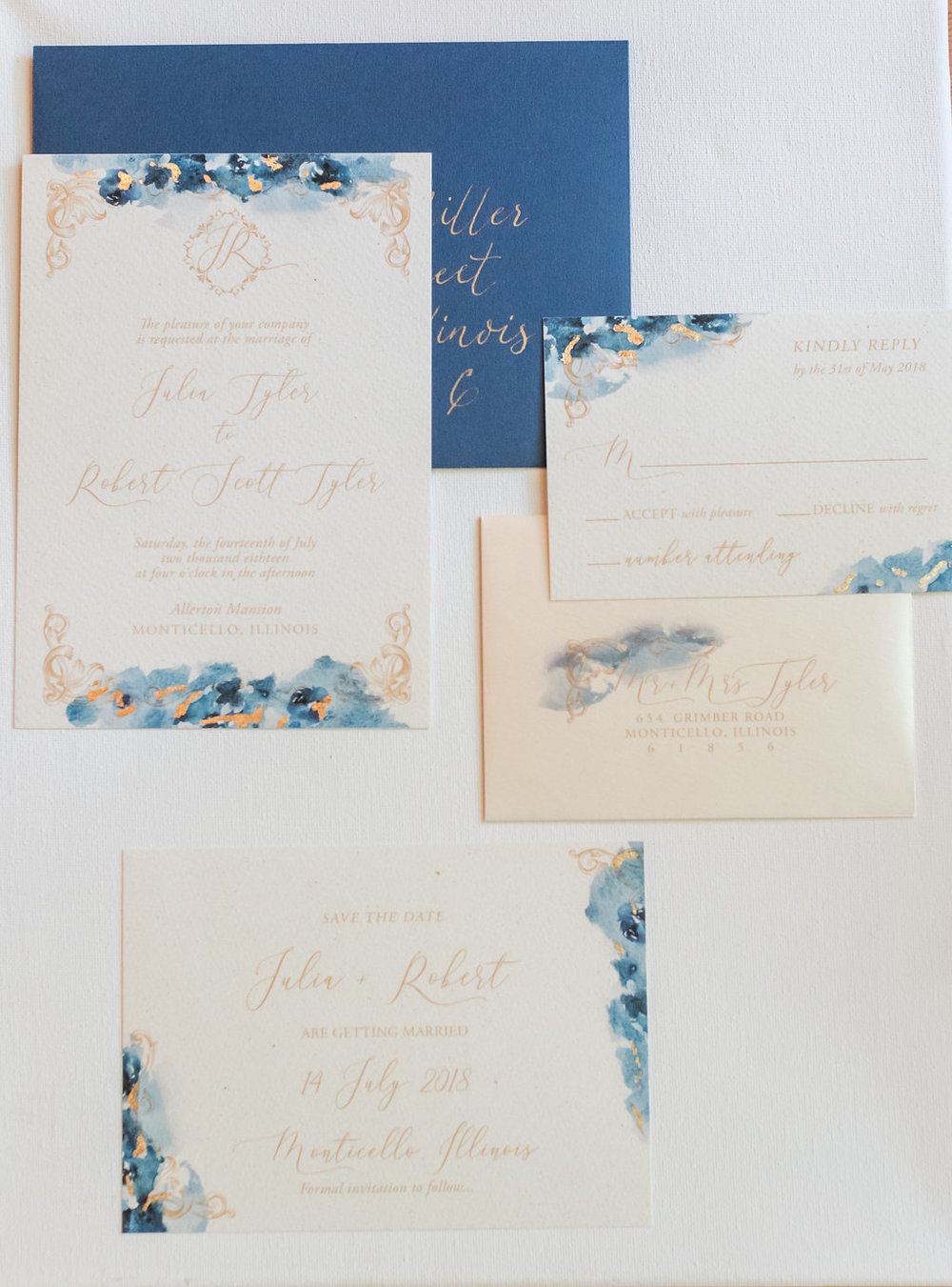 Navy and Gold Wedding Invitations Chicago Wedding Rakoteet Photography
